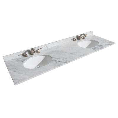 Sheffield 72 in. W x 22 in. D Marble Double Basin Vanity Top in White with White Basin