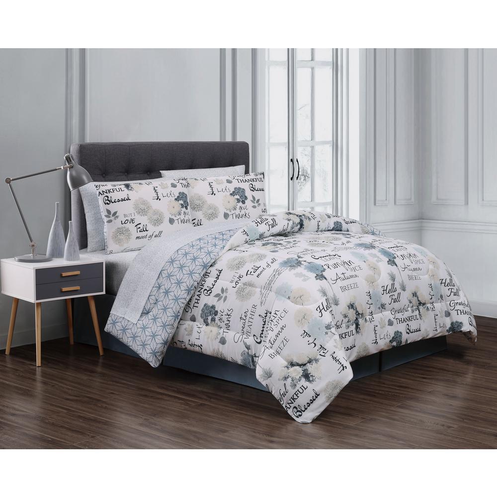 undefined Mazedaze 8-Piece Blue/Ivory King Bed in a Bag Set