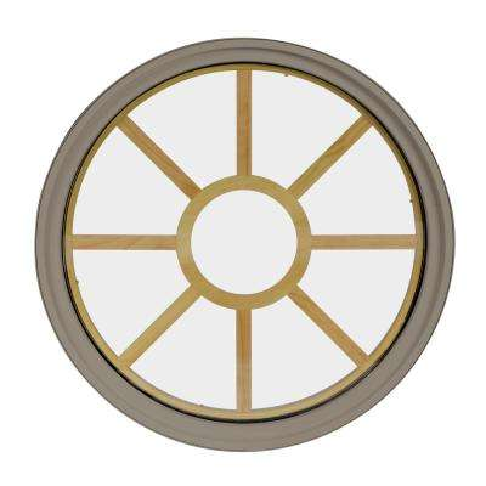 36 in. x 36 in. Round Sandstone 4-9/16 in. Jamb 9-Lite Grille Geometric Aluminum Clad Wood Window