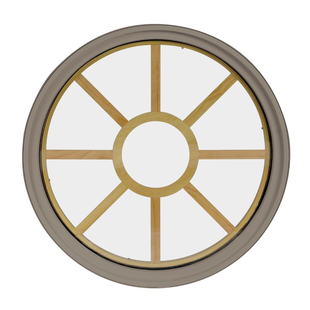 48 in. x 48 in. Round Sandstone 6-9/16 in. Jamb 9-Lite Grille Geometric Aluminum Clad Wood Window