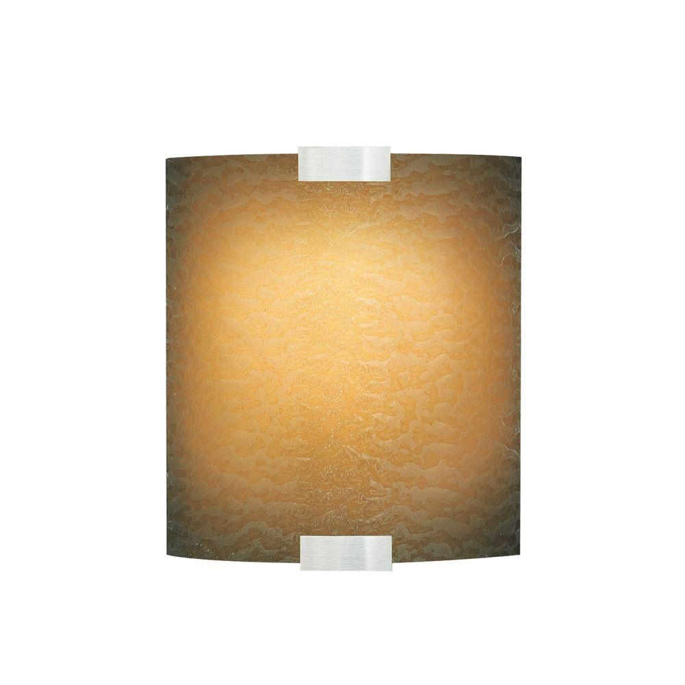 LBL Lighting Omni 1-Light Silver Outdoor Fluorescent Small Wall Light with Amber Shade