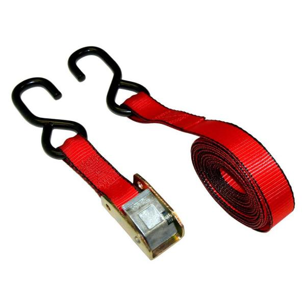 1 in. x 15 ft. Cam Buckle Tie-Down Strap with 1500 lbs. S-Hook Design