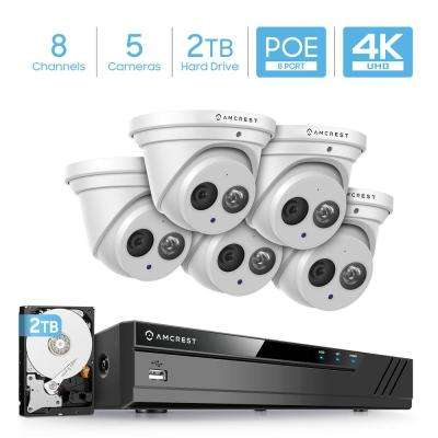 4K 8-Channel 2TB HDD NVR Surveillance System with (5) x 8MP Metal Turret Dome POE IP Cameras, IP67 Weatherproof (White)