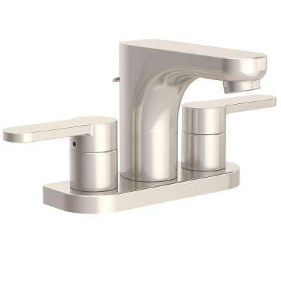 Identity 4 in. Centerset 2-Handle Bathroom Faucet with Pop-Up Drain Assembly in Satin Nickel