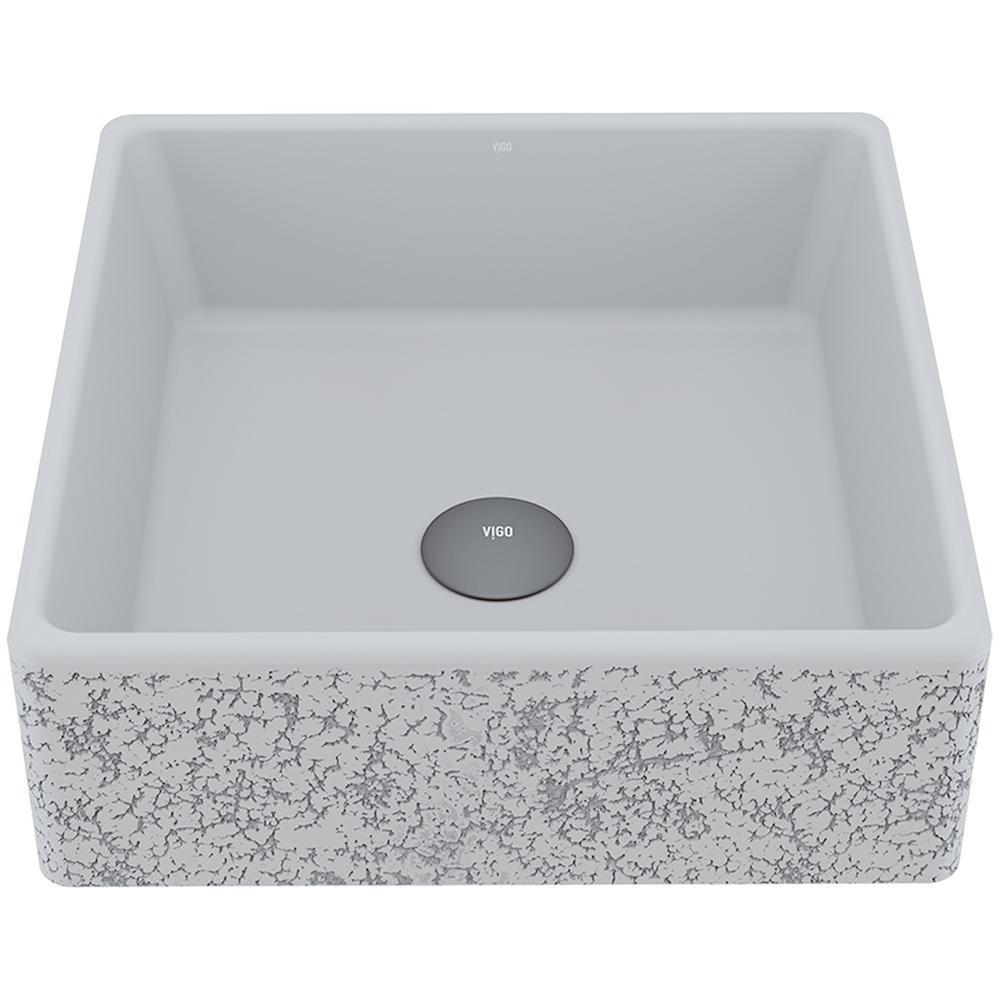 Aster Concrete Square Vessel Bathroom Sink in Ash