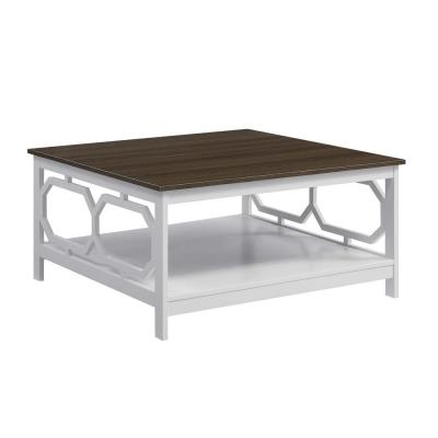 Omega 36 in. Driftwood/White Medium Square Wood Coffee Table with Shelf