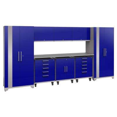 Performance Plus 2.0 80 in. H x 161 in. W x 24 in. D Steel Garage Cabinet Set in Blue (9-Piece)