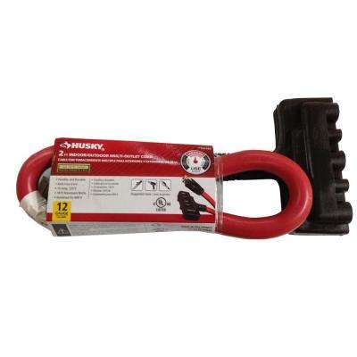 2 ft. 12/3 Indoor/Outdoor Multi Outlet Extension Cord, Red and Black