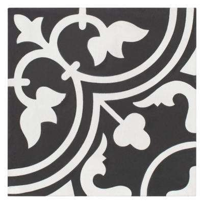 Cemento Arte Coal Encaustic 7-7/8 in. x 7-7/8 in. Cement Handmade Floor and Wall Tile
