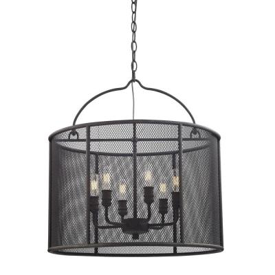 6-Light Textured Bronze Pendant with Metal Mesh Shade