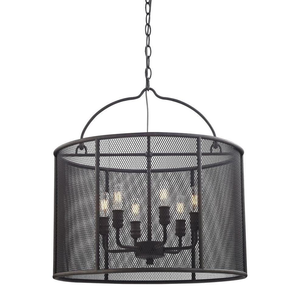 Home Decorators Collection 6-Light Textured Bronze Pendant with ...