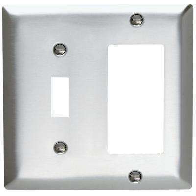 2-Gang Combo 1 Toggle and 1 Decorator Combination Wall Plate - Stainless Steel