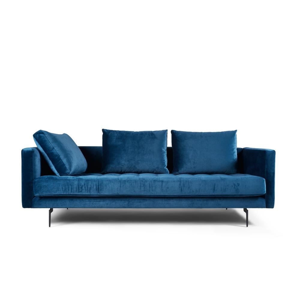 Manhattan Comfort Granville 3 Seat Sapphire Velvet Sofa