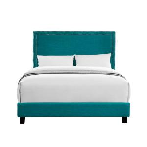 Emery Upholstered Teal Queen Platform Bed