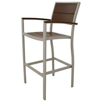 Surf City Textured Silver Patio Bar Arm Chair with Vintage Lantern Slats