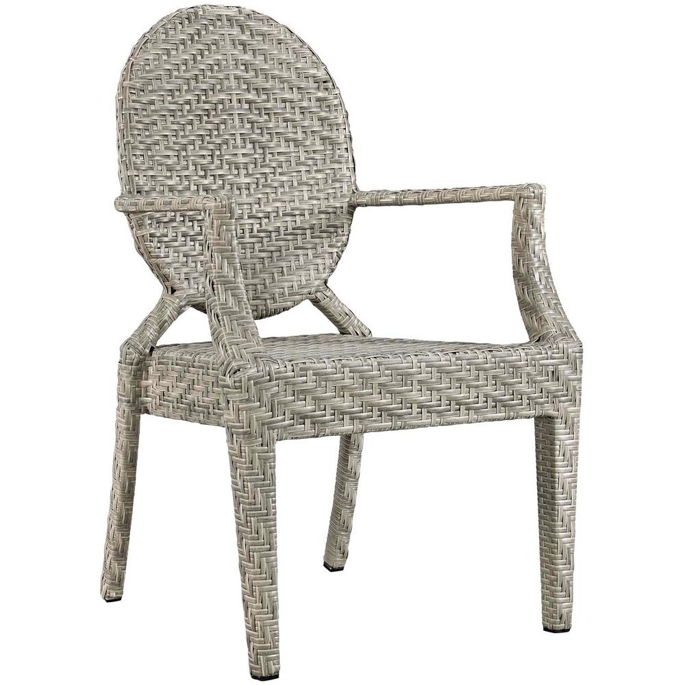 MODWAY Casper Aluminum Outdoor Patio Dining Chair in Light Gray - MODWAY Casper Aluminum Outdoor Patio Dining Chair In Light Gray-EEI