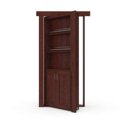 32 in. x 80 in. Flush Mount Assembled Forward Pantry Door Alder Cherry Stained Right-Hand Outswing