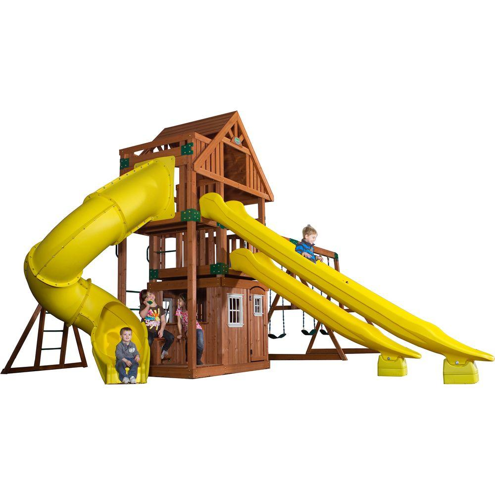 Backyard Discovery Traverse All Cedar Playset 54293com The Home Depot