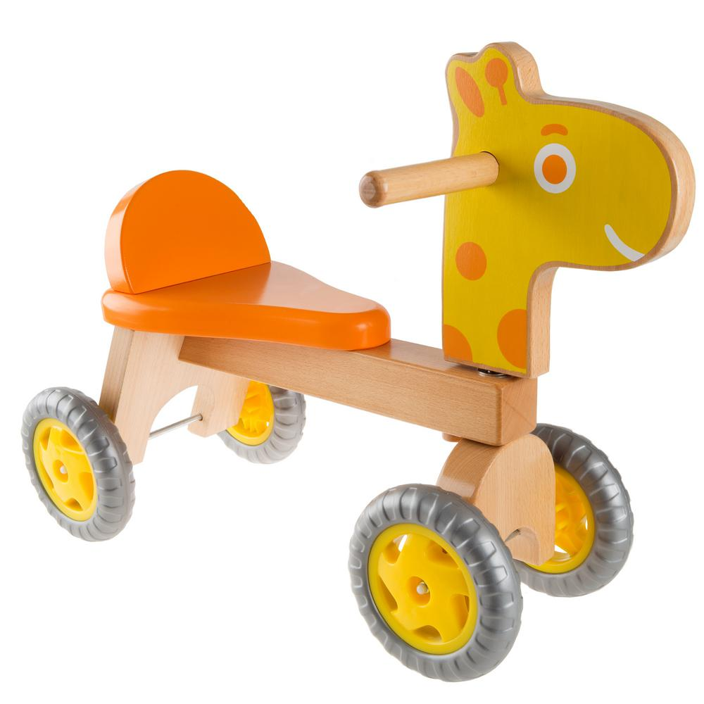 Happy Trails Wooden Ride-On Giraffe, Oranges/Peaches