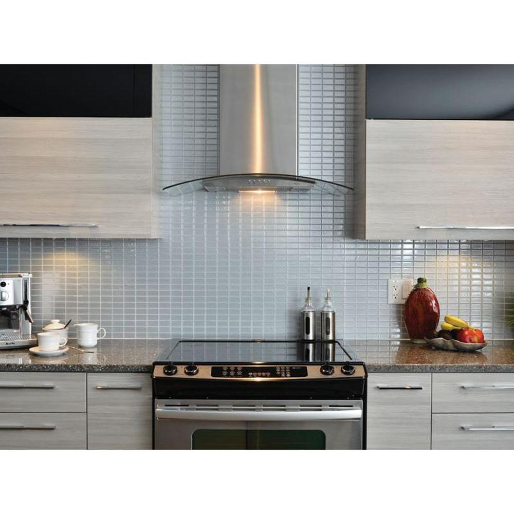 Kitchen Wall Tile Backsplash: Smart Tiles Stainless 10.625 In. W X 10.00 In. H Peel And