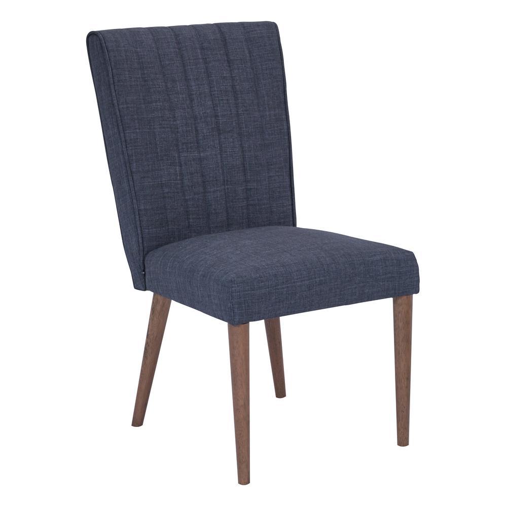 Caroline Navy Fabric with Coffee Legs Dining Chair