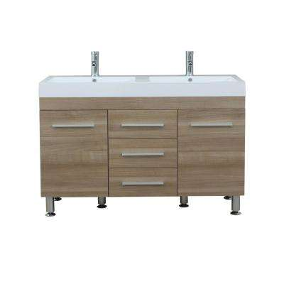 The Modern 47 in. W x 18.75 in. D Bath Vanity in Light Oak with Acrylic Vanity Top in White with White Basin