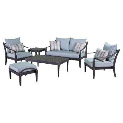 Astoria 6-Piece Love and Club Patio Deep Seating Set with Bliss Blue Cushions