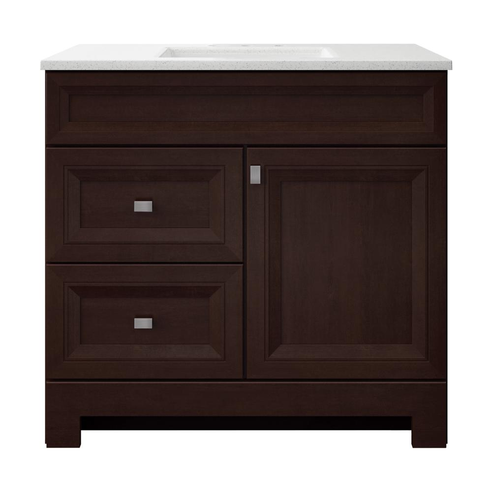 Home Decorators Collection Sedgewood 36-1/2 in. W Bath Vanity in Dark Cognac with Solid Surface Technology Vanity Top in Arctic with White Sink