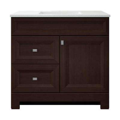 Sedgewood 36-1/2 in. W Bath Vanity in Dark Cognac with Solid Surface Technology Vanity Top in Arctic with White Sink