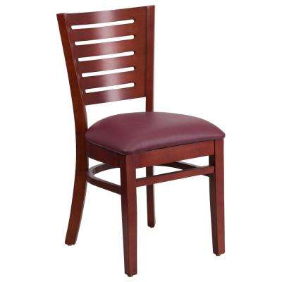Darby Series Mahogany Slat Back Wooden Restaurant Chair with Burgundy Vinyl Seat