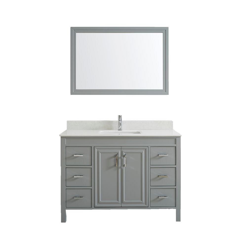 Vanity Gray Solid Surface Vanity Top White Basin Mirror