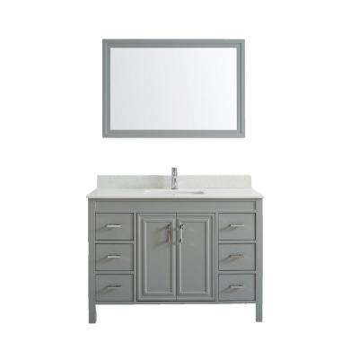 Dawlish 48 in. W x 22 in. D Vanity in Oxford Gray with Solid Surface Vanity Top in White with White Basin and Mirror