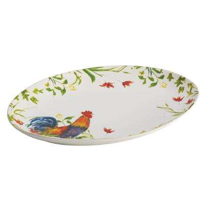Dinnerware Meadow Rooster Stoneware 9-3/4 in. x 14 in. Oval Platter