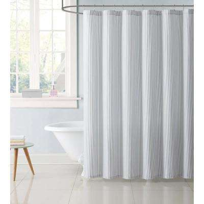 Kids 72 in. Stripe Gray Shower Curtain