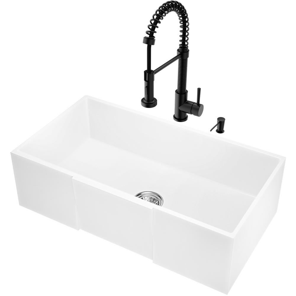 VIGO All-in-One 30 in. Matte Stone Single Bowl Farmhouse Kitchen Sink with  Pull Down Faucet in Matte Black & Soap Dispenser