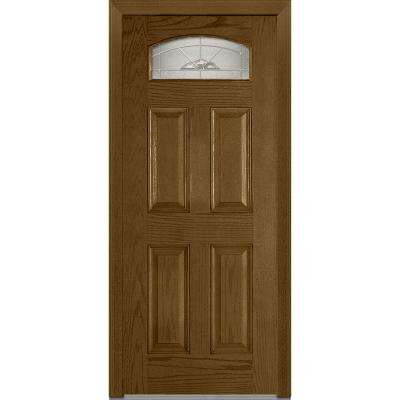 36 in. x 80 in. Master Nouveau Right-Hand 1/4 Lite 4-Panel Classic Stained Fiberglass Oak Prehung Front Door
