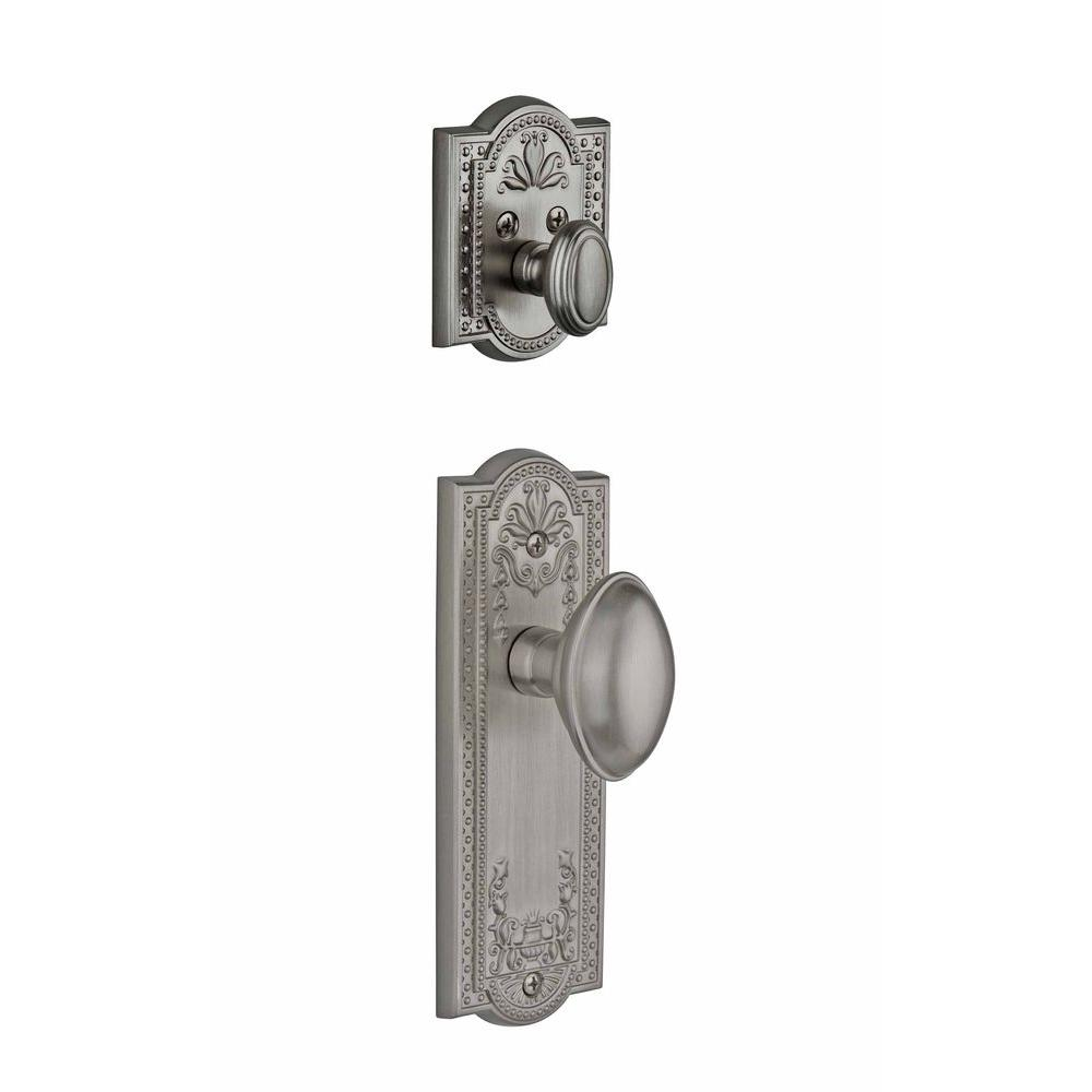 Grandeur Parthenon Single Cylinder Satin Nickel Combo Pack Keyed Alike with Eden Prairie Knob and Matching Deadbolt