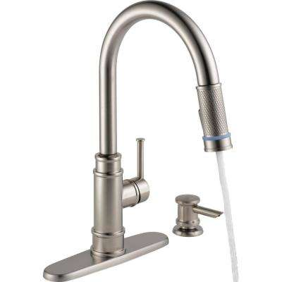 Allentown Single-Handle Pull-Down Sprayer Kitchen Faucet with TempSense Indicator and Soap in SpotShield Stainless