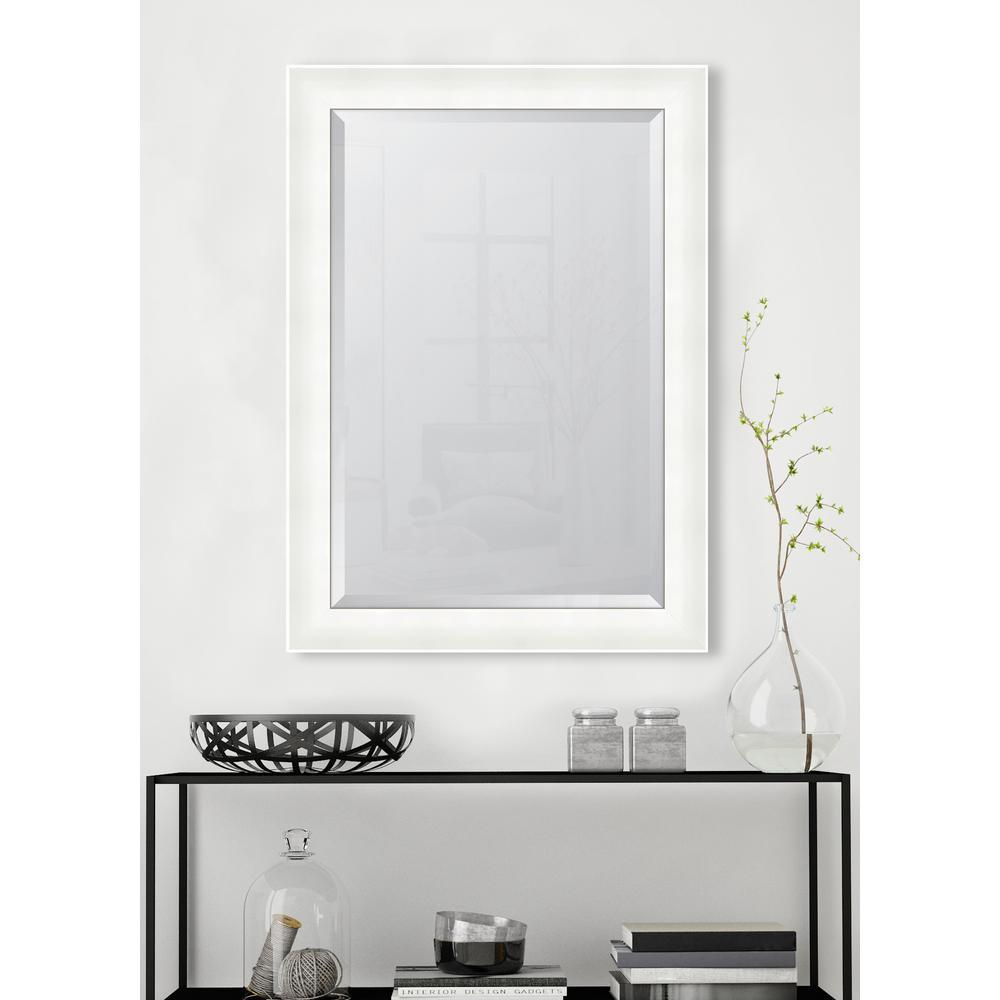 31 in. x 43 in. 3 1/4 in. High Gloss White Resin Frame Mirror