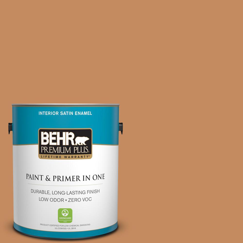 1 gal. #PPU3-13 Glazed Ginger Zero VOC Satin Enamel Interior Paint