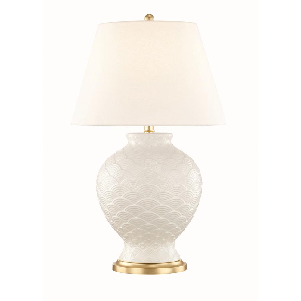 Mitzi by Hudson Valley Lighting Demi 25.25 in. High Cloud Table Lamp with Off White Linen Shade