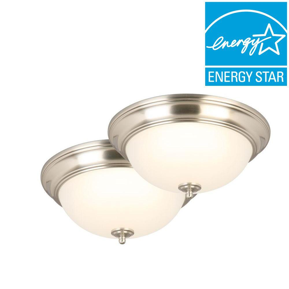 Flushmount lights lighting the home depot 180 watt equivalent brushed nickel integrated led flushmount with frosted glass shade aloadofball Choice Image