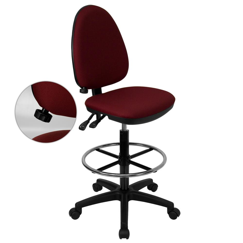 Flash Furniture Mid Back Burgundy Fabric Multi Functional Drafting Chair  With Adjustable Lumbar Support