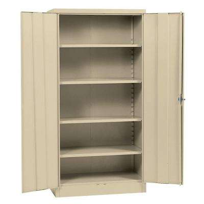 72 in. H x 36 in. W x 18 in. D Steel 5-Shelf Quick Assembly Freestanding Storage Cabinet in Putty