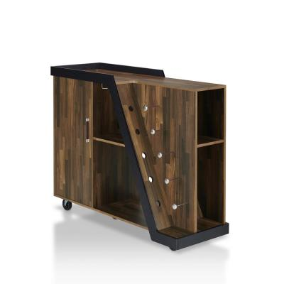 Ando 5-Bottle Light Hickory Mobile Wine Cabinet
