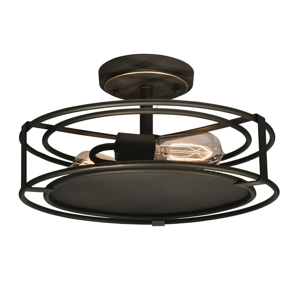 Peter 2-Light Copper Bronze Semi-Flushmount Light