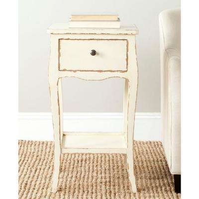 Thelma Distressed Vanilla Storage End Table