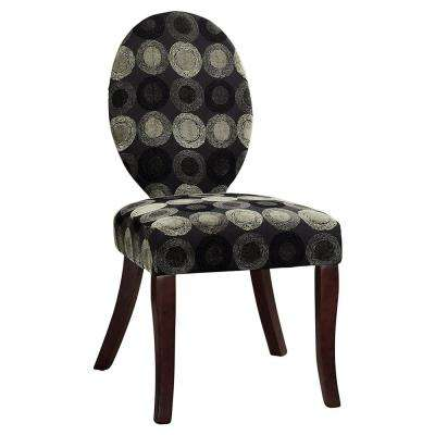 Black Print Fabric Accent Chair