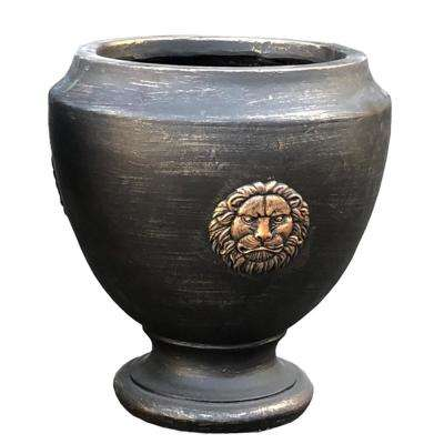 14 in. Tall Oil Rubbed Brown Lightweight Concrete Outdoor Lion Footed Planter
