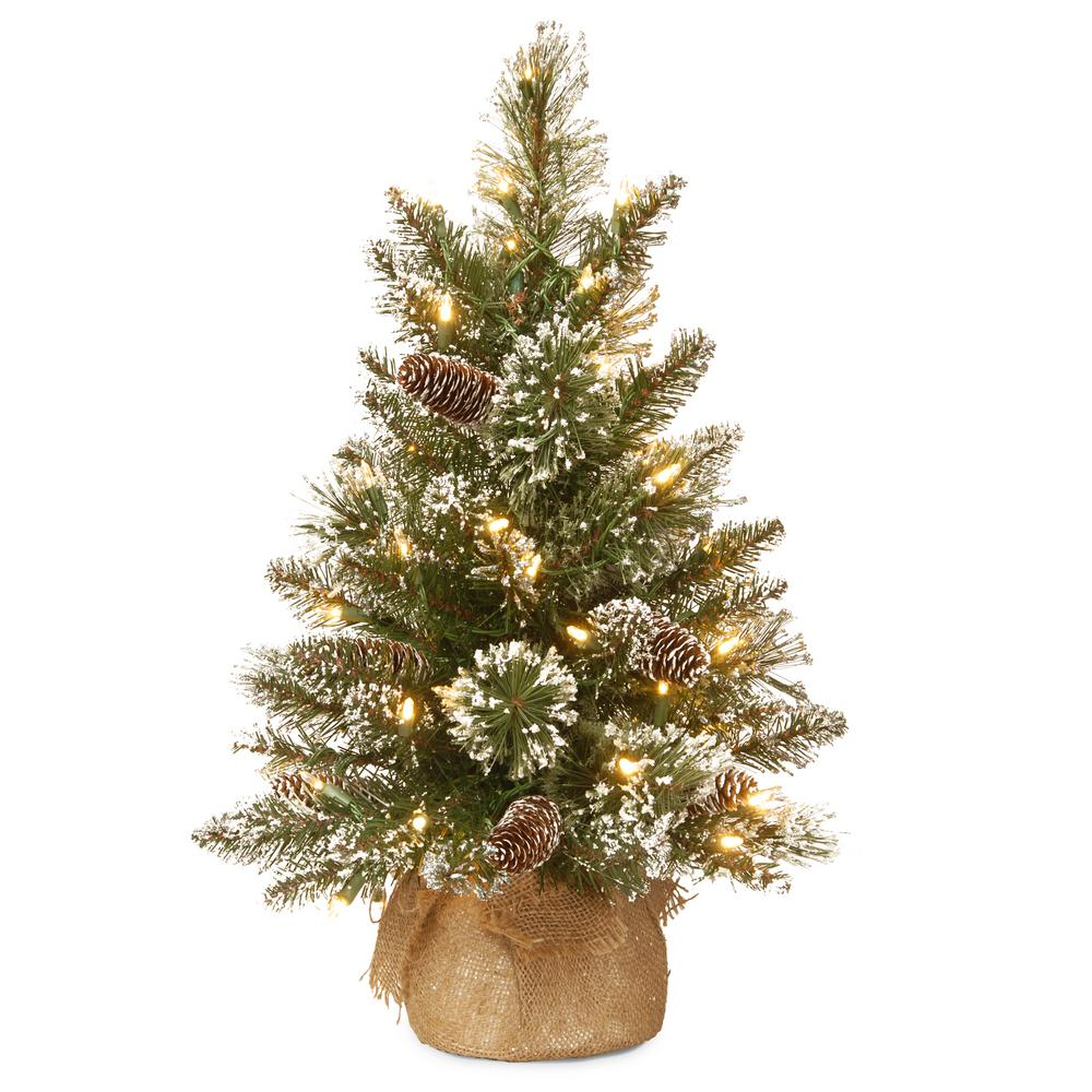 24 in. Glittery Bristle Pine Tree with Battery Operated Warm White